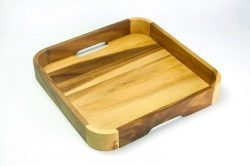 X-large square acacia tray