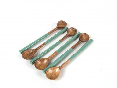 acacia teaspoon celadon handle
