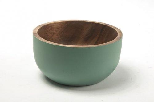small rustic acacia bowl bluish-green