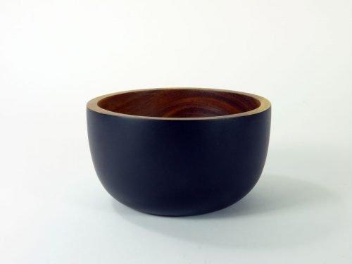 small rustic acacia bowl black