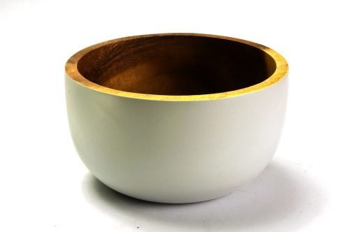 small rustic acacia bowl off-white