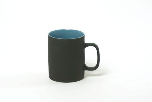 teacup black matt with blue|handmade tablewear blue black