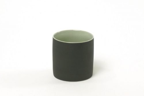 cup matt black with green|cups large and small black green