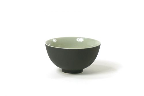 bowl with foot black greyed mint|bowls with plate black greyed mint