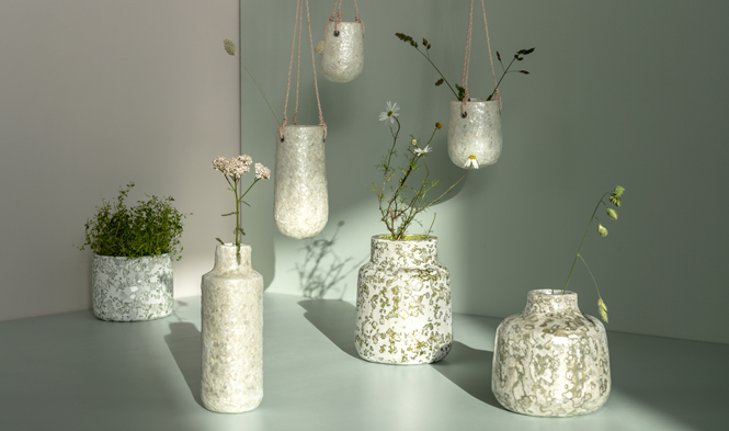 vases recycled material capiz pulp