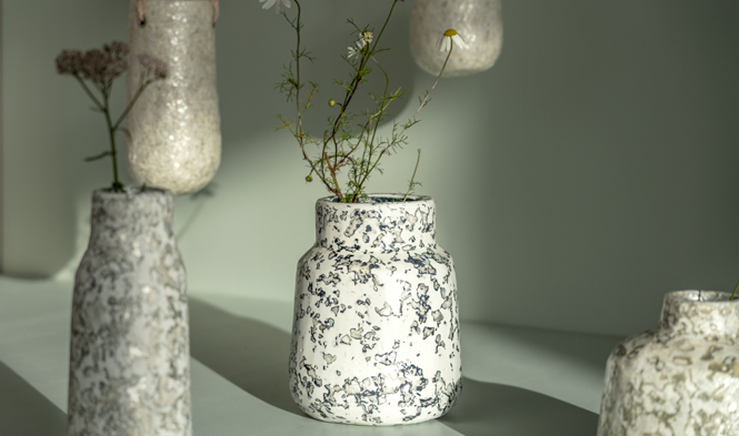 vase with neck blue
