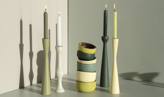 colored bowls candle holders green