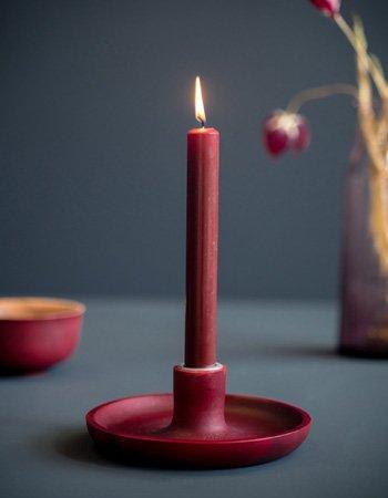 saucer candleholder red dye