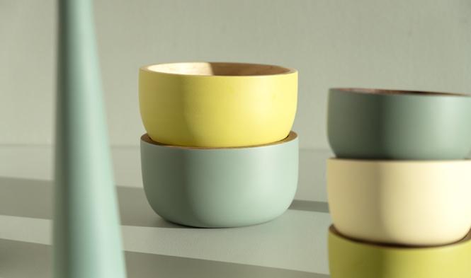 bowls green yellow wood