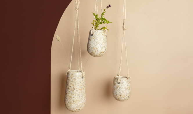 hanging flowerpots recycled material
