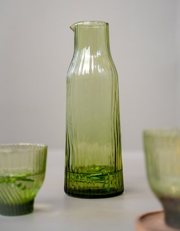 glassware with pattern green