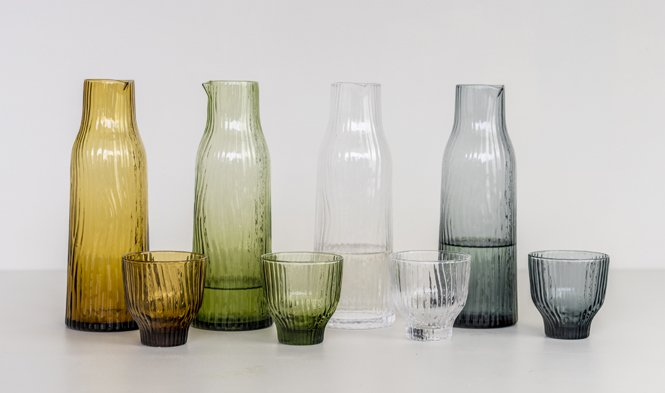 carafe tumblers mouth blown glass