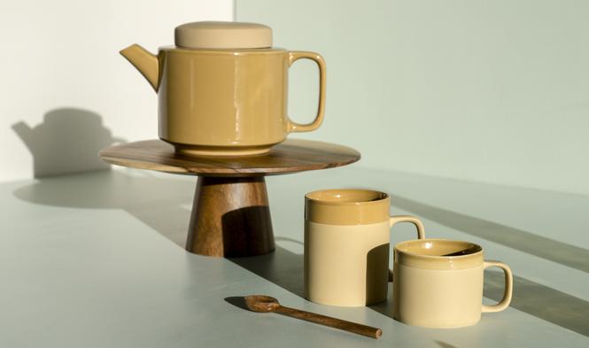 kinta teapot mustard teacup